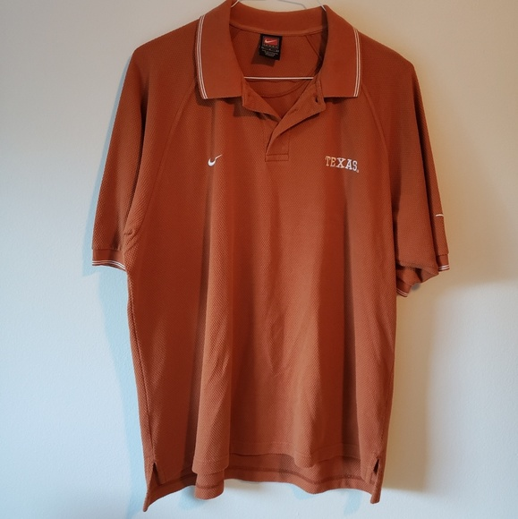 Nike DRI-FIT Texas Longhorns Short Sleeve Polo Shirt L Orange